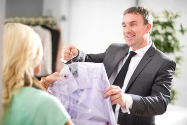 Man Picks Up Dry Cleaning